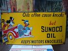 LARGE VINTAGE 1939 SUNOCO MOTOR OIL PORCELAIN GAS STATION PUMP SIGN MICKEY MOUSE