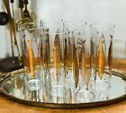 Vintage Mid Century Cocktail Glasses Set Gold Highball Fred Press