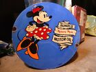 1933 SUNOCO MERCURY MADE MOTOR OIL PORCELAIN GAS STATION PUMP SIGN MINNIE MOUSE
