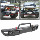 For 2018 20 Jeep Wrangler JL 3 Piece Steel Rubicon Front Bumper w LED Fog Lights
