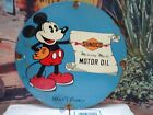 VINTAGE 1933 SUNOCO MERCURY MADE OIL PORCELAIN GAS STATION PUMP SIGN MICKEY