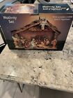 Nativity Scene with Stable Set of 12 Figurines Tabletop Christmas Decoration