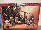 KIRKLAND 12 Piece Porcelain NATIVITY Set with Wood Creche