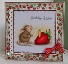 Stampendous cling mounted rubber stamp HOUSE MOUSE STRAWBERRY WISH