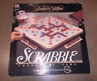 SCRABBLE Deluxe Edition Crossword Board Game Wood Tiles Rotating Turntable 2001