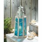 ocean BLUE white nautical LIGHTHOUSE statue 10 Candle holder Lantern light lamp
