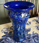 Gorgeous 9 Vase Glass Artist Signed Blue Iridescent Handcrafted 2005 MINT