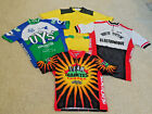 French Short Sleeve Red White Blk Cycling Jersey 4 LARGE Old School Shiny Track