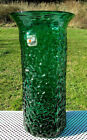 Vintage Blenko Emerald Green Textured Art Glass Large Vase 10H x 5W HTF RARE