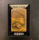 Zippo Native Indian Head Brass Lighter With Raised Emblem UNFIRED