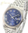 Rolex Mens Datejust  Stainless Steel  Blue Roman Dial Fluted Bezel 36mm Watch