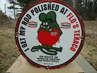 VINTAGE AUTHENTIC 1963 HOT ROD RAT FINK FLO'S TEXACO ROUTE 66 PORCELAIN SIGN