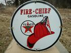 OLD 1951 VINTAGE TEXACO FIRE-CHIEF GASOLINE PORCELAIN GAS STATION PUMP SIGN