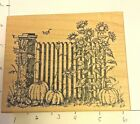 Northwoods Halloween Punkins And Fence Rubber Stamp