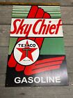 "Vintage Metal Painted Texaco Sky Chief Gasoline Advertising Sign 10"" X 16"""