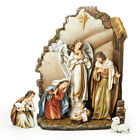 7 Piece Brown Josephs Studio Nativity with Back Wall Christmas Table Top Decora