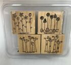 Stampin Up SIMPLE SOMETHINGS Set of 4 Wood Mounted Rubber Stamps EUC