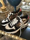 NWT GOLDEN GOOSE Running Sole Leopard Print Sneakers in Black Silver 37