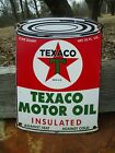 OLD VINTAGE 1956 TEXACO MOTOR OIL CAN PORCELAIN GAS STATION SIGN