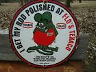 OLD 1963 TEXACO HOT ROD ROUTE 66 GASOLINE PORCELAIN ADVERTISING SIGN RAT FINK