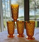4 Indiana Whitehall Colony Cubist Cube Amber Harvest Gold Footed Tea Tumblers