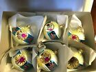 Art Pol Box of 6 Large Pink Blue Double Reflector Blown Glass Ornaments Poland