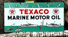 TEXACO MARINE MOTOR OIL PORCELAIN SIGN USA 53 BOAT OUTBOARD VINTAGE PETROLEUM
