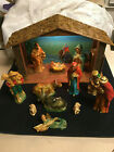 WICKED VINTAGE 1971 SEARS 15 PIECE LIGHTED MUSICAL NATIVITY SET MADE IN JAPAN