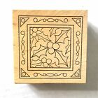 Outlines HOLLY  BERRIES Rubber Stamp Decorative Square Holiday Christmas Winter