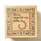 Outlines TIS THE SEASON TO BE JOLLY Rubber Stamp Christmas Fa La La Stars Wood