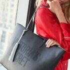 Victorias Secret Tote Black With Silver Tassel Double Handles Punched Holes NWT