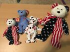 Beanie Babies Liberty Bear Lot American Flag Red White Blue Patriotism