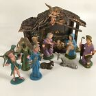 Vintage Nativity Manger And Religious Figures As Pictured Made In Italy