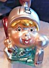 GLASS BASEBALL ORNAMENT CHILD WITH UNIFORM BAT BALL CHRISTOPER RADKO