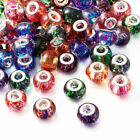 100PCS Mixed Color Spray Painted Glass European Beads Large Hole Bead Rondelle
