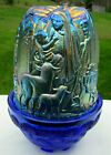 Fenton Favrene Blue Iridescent Holy Family Nativity Fairy Light Lamp 45H