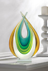 Turquoise blue green gold modern art Glass Sculpture statue object trophy award