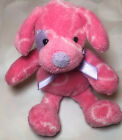 Pink Hearts Puppy Dog Plush Stuffed Animal Lovey Purple Bow Beanie Lilac 6""