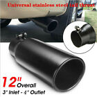 762 102mm Car Black Stainless Steel Exhaust Pipe Muffler Tip Tail Throat System