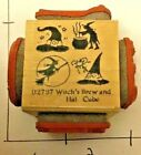 Witches Brew And Hat Cube Rubber Stamp