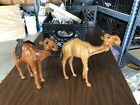 Pair of Large 12 Tall VTG Old Handmade Leather Camel Statue Figure Realistic