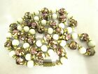 Vintage Murano Venetian Glass White Wedding Cake Pink Roses Bead Necklace 30