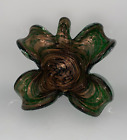 Murano Glass Bullicante Green and Gold Flower Form Bow c1960s