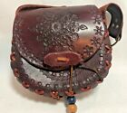 Ladies Handbag Purse Tooled Leather Brown All Over Intricate Floral Design