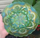 DUGAN FOUR FLOWERS VARIANT GREEN CARNIVAL GLASS PLATE