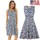 Women's Summer Sleeveless Swing Tank Dress Casual Floral Print Skater Sun Dress!