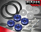 Universal Moto Car Fairing Quick Release Fasteners Washers + Tension Band Blue