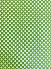 Cotton Fabric Apple Green White Dot Apparel Face Mask Quilting Sewing 1 Yd