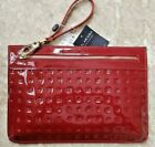 NWT ARCADIA Patent Leather Large Pouch Wristlet in Marsala Red Made in Italy