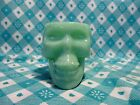 Jadeite Green Glass Skull Shot Glass or Tooth Pick Holder in Excellent Condition